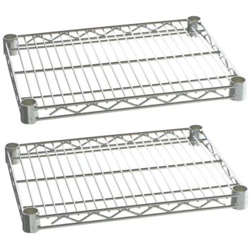 "Commercial Kitchen Heavy Duty Chrome Wire Shelves 14"" x 30"" with Clips (Box of 2)"