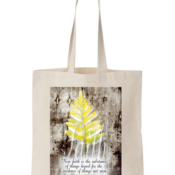 FAITH Canvas Tote - brown, yellow, tote, Bible Art, Art, Painting, Christian Art, Bible, Natural Canvas tote, natural, cotton, leaf