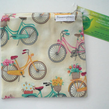 Reusable Snack Bag 6x6 Zipper Closure Eco Friendly Sandwich Bags Bicycles Back To School