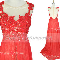 2014 Red Prom Dress,Straps Lace Applique Beads Crystal Prom Dresses,Evening Dress,Evening Gowns,Wedding Dresses,Formal Dress