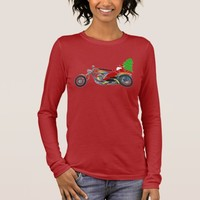 Christmas Santa Riding Chopper Bike With Red Hat Long Sleeve T-Shirt
