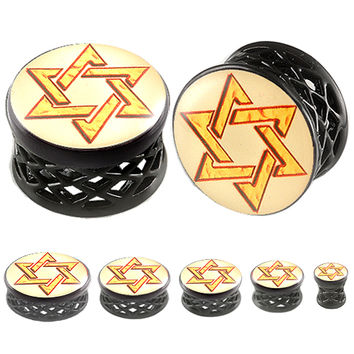 Shield Of David Logo Double-Flared Plug - Alloy (Black) (Various Gauges) // Set of 2