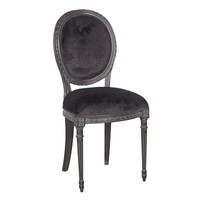 Moulin Noir Velvet Side Chair | Painted French Dining Chair | Black French Dining Room Furniture