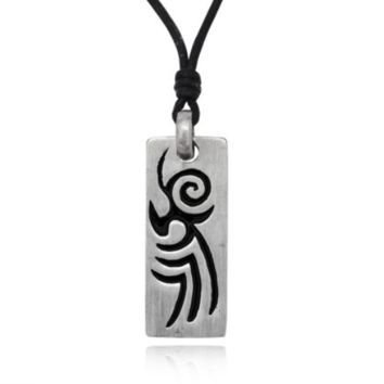New Abtract Design Native American Silver Pewter Charm Necklace Pendant Jewelry With Cotton Cord
