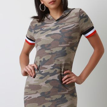 Camouflage Striped Trim Hoodie Mini Dress