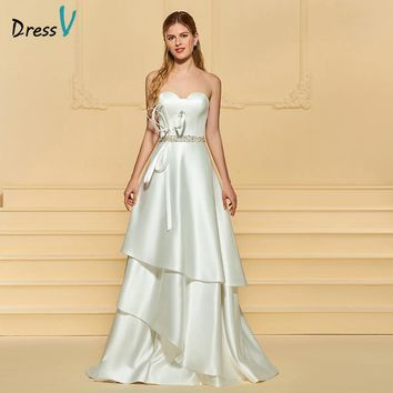 Dressv Ivory Wedding Dress Sweetheart Neck Sleeveless Sweep Train A Line Beading Bow Matte Satin Simple Custom Wedding Dress