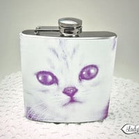 Purple Kitty Cat Flask 6 oz - Womens Accessories - Purple LR101