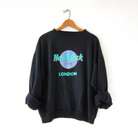 Vintage Hard Rock Cafe Sweatshirt. LONDON novelty sweatshirt. washed out faded black sweatshirt.