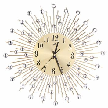 Modern Art Large Wall Clock Metal Sunburst Clear Diamante Crystal Mute Wall Clock