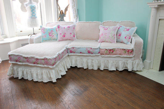 shabby chic sectional sofa vintage rose from vintagechicfurniture. Black Bedroom Furniture Sets. Home Design Ideas