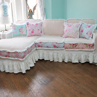 shabby chic sectional sofa vintage rose chenille bedspread slipcover ruffle white custom order new cottage prairie