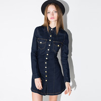 Casual Doll Collar Long Sleeve Button Down Denim Mini Dress