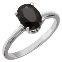 14kt White Gold Onyx Scroll Set Ring