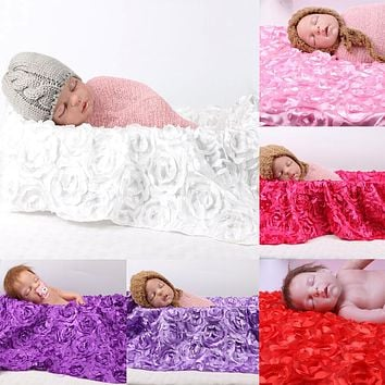 Newborn Photography Photo Props 3D Rose Flower Backdrop Beanbag Baby Blanket Large Rug Photography Props