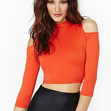 Orange Cutout-Shoulder Sleeve Crop Tank Top