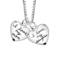 """Sterling Silver """"I Love My Mom, I Love My Daughter"""" Two Heart Pendant Necklace s, 18"""": Jewelry"""