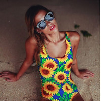 Sunflower One Pieces Swimsuit Push Up Floral Female Bodysuit