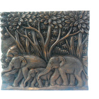 "Teak Wood Carving Of Three Elephants Family Natural Art Hand Carved Elephant Home Decor Wall Hanging / Gift sculpture 11""X10"""