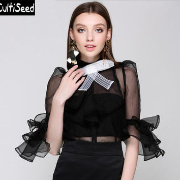 Female Perspective Hollow Out Mesh Net yarn Party Shirts Blouses Tops with Ruffles Sleeve Women Bow Elegant Office Work Shirts