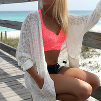 Raglan Beach Open Front Pocket Off White Cardigan