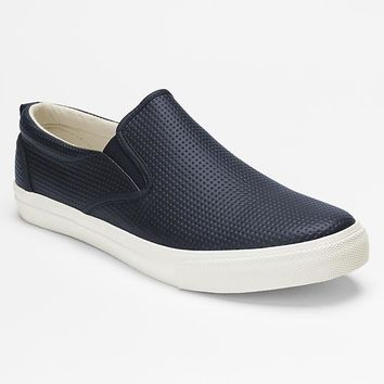 Perforated Leather Slip On Sneakers