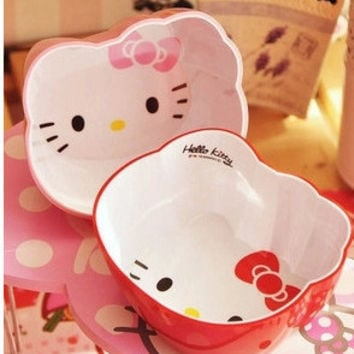 Hot Sales Cute Kitty cat head afraid to throw children tableware Salad Soup Dessert Bowl Lunch Box bowl soup cartoon Tableware