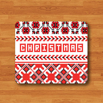 Christmas Red Cross Stitch Tree Dot Cute Mouse Pad Black Drawing Desk Deco Rubber Gift Polkadot Computer Work MousePad