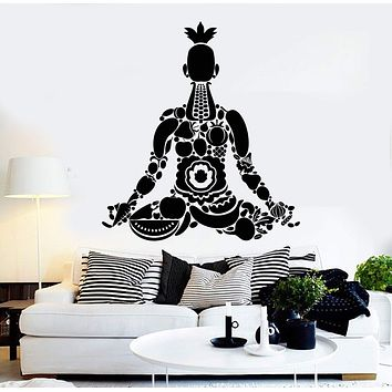 Vinyl Wall Decal Vegan Yoga Meditation Healthy Lifestyle Stickers Unique Gift (ig3901)