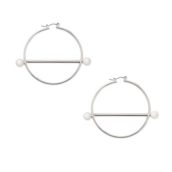 Bar Accent Hoop Earrings