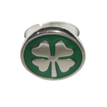 Lucky Green Four Leaf Clover Adjustable Size Fashion Ring