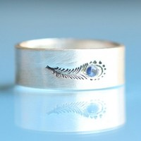 Handmade Gifts | Independent Design | Vintage Goods Peacock Feather Ring with Sapphire - Jewelry - Girls