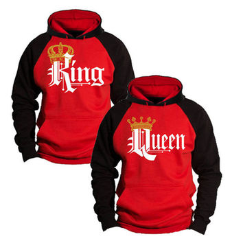 King & Queen Hoodies Valentine Gift NEW MULTI COLORS CUTE LOVE COUPLES