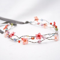 wired beads and vintage flower hair wreath by BeSomethingNew
