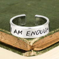 I Am Enough Ring - Inspirational Rings - Adjustable Aluminum Cuff Ring