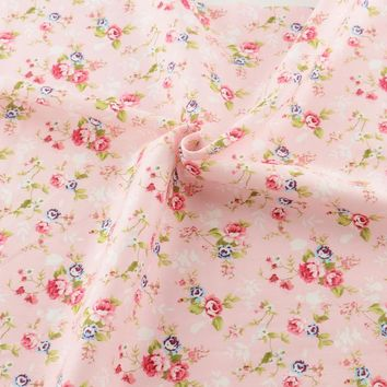 New pink printed floral patterns 50cmx160cm/piece cotton fabric tilda quilting home textile for bedding  factory direct fabric