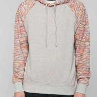Contrast Sleeve Pullover Hooded Sweatshirt- Charcoal