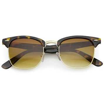 Classic Square Neutral Colored Lenses Horn Rimmed Sunglasses C771