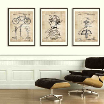 Trio of Bicycle Patent Posters - Original Patents - Vintage Print - Patent Print - Patent Poster - Vintage Wall Art
