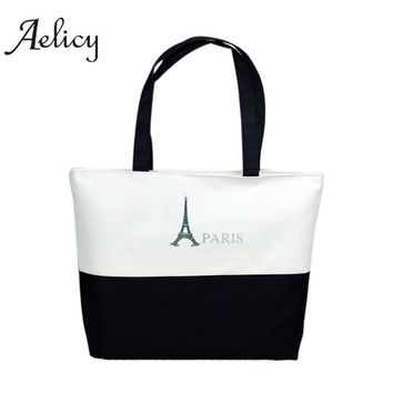 Aelicy Large Space women ladies Canvas Eiffel Tower Pattern Girls Shopping Shoulder Bags Handbag Beach Bookbag Casual Tote 1277