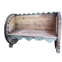 Antique Indian OXCART WHEEL Hand Carved Solid Natural Sunbleached Wood Bench Garden Sofa Unique Design ECLECTIC Cottage Rustic