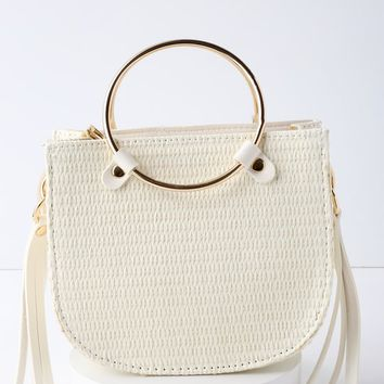 Rockport White Woven Mini Bag