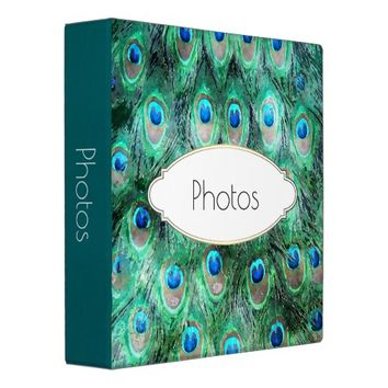 Peacock Feathers Exotic Wild Watercolor Pattern Binder