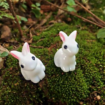 Doll House Terrarium Easter Decor Toys Cute Easter Micro Landscape Ornaments Mini Rabbit Animal Fairy Garden Decoration