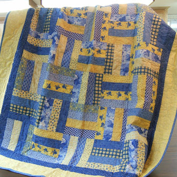 MikeandMollyscrafts on Etsy on Wanelo : blue and yellow quilt - Adamdwight.com