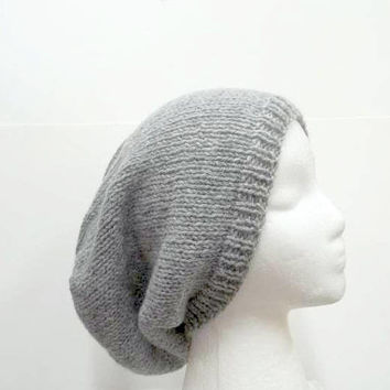 Slouchy beanie hat light gray knitted men or women large size 5333