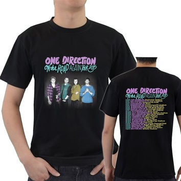 4 personil One Direction On the Road Again Tour Date 2015 LKM1 Tee T - Shirt
