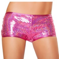 Holographic Pink Sequin Shorts : Hotpant with Sequins Rave Shorts