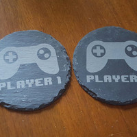 Laser Engraved Natural Slate Coasters with Controller and Player Number ~ Geeky ~ Wedding Gift ~