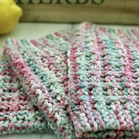 Knit Wash Clothes - 100% USA Cotton - Pink and Green Multi - Dish Rag - Waffle Pattern Washrag