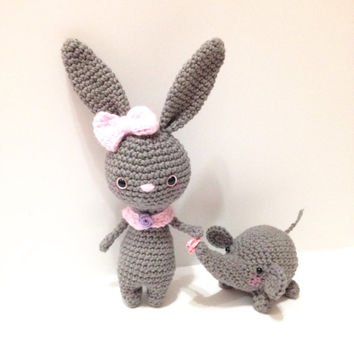Amigurumi Bunny  Amigurumi Elephant Crochet Bunny Crochet Doll Crochet Elephant Rabbit Crochet Elephant Plush Kids Toy Kawaii Birthday Gift